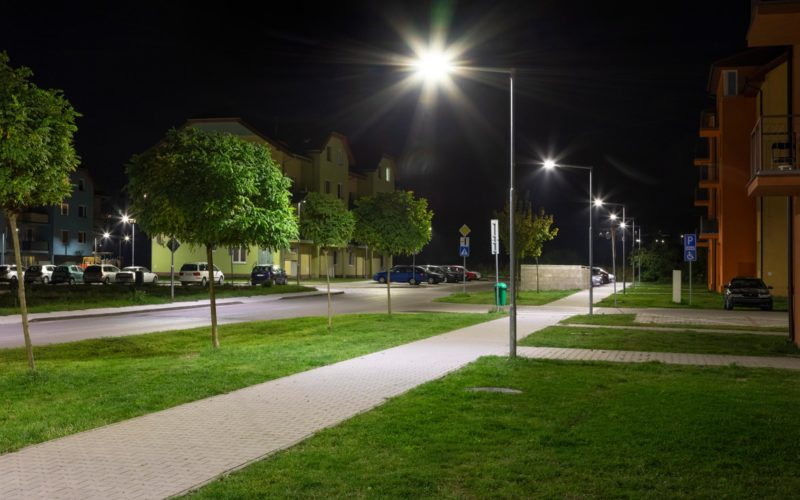 LED light poles in residential are